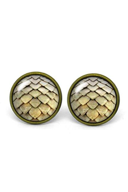 X311- Dragon Egg, Game of Thrones, Glass Dome Post Earrings