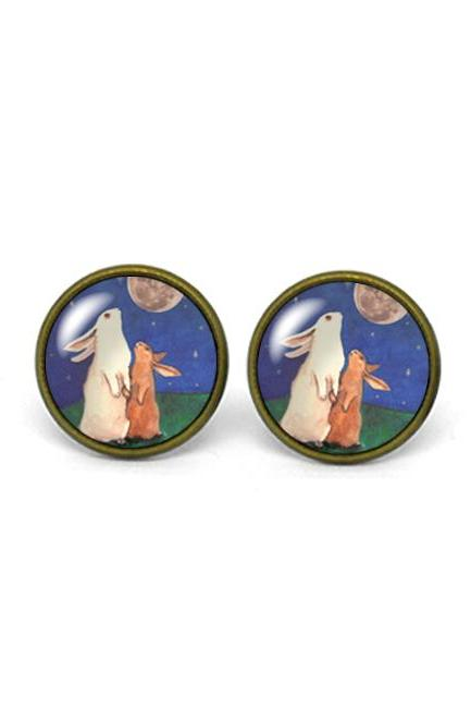 X704- Rabbit and the Moon, Glass Dome Post Earrings