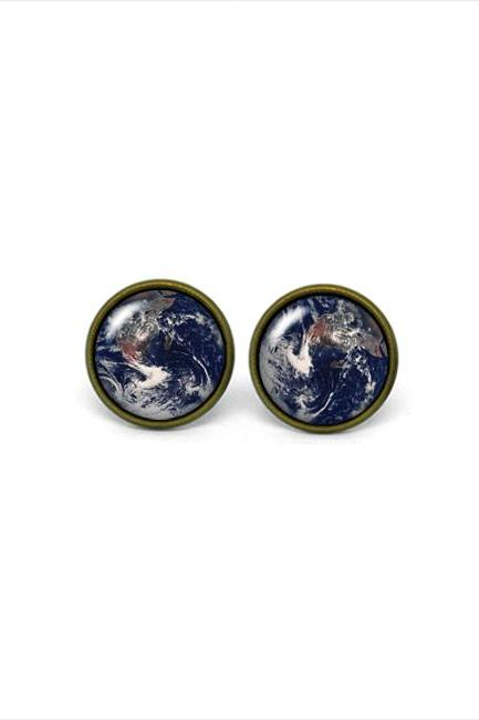 X165- Earth, Glass Dome Post Earrings