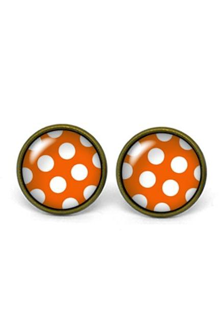 X218- Polka Dots, Retro, Vintage Style, Glass Dome Post Earrings, Handmade