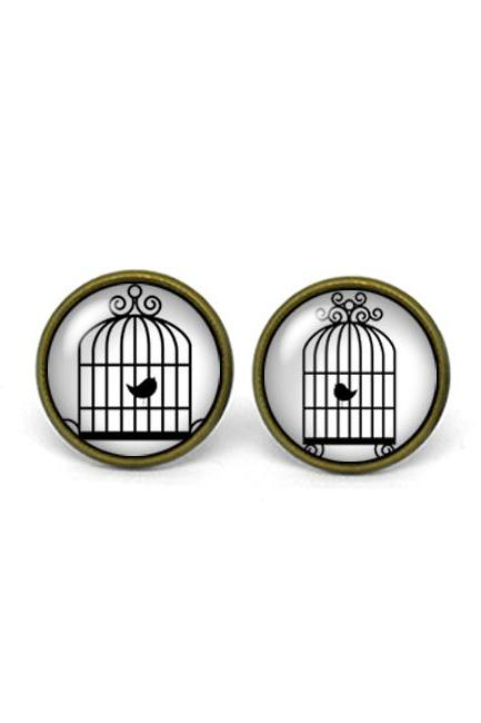 X286- Birdcage, Glass Dome Post Earrings, Handmade