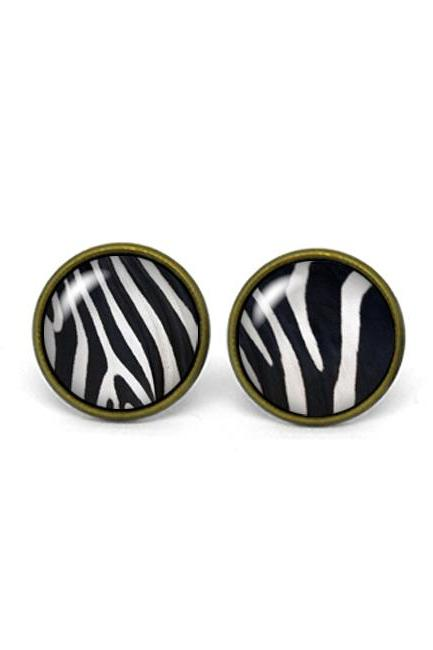 X241- Zebra Pattern, Glass Dome Post Earrings, Handmade