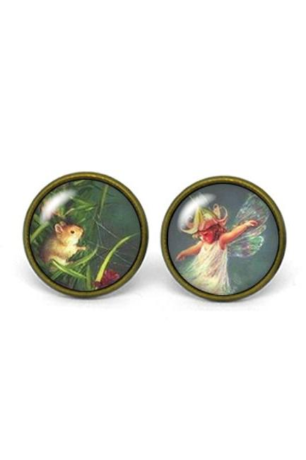 X380- FairyTale, Glass Dome Post Earrings, Handmade
