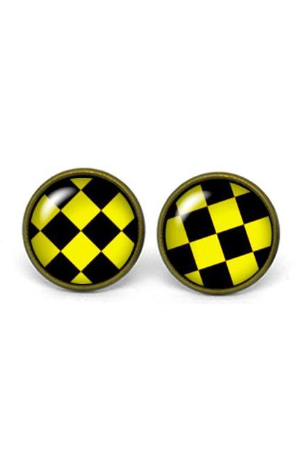 X254- Black & Yellow Rhombus Pattern, Glass Dome Post Earrings, Handmade