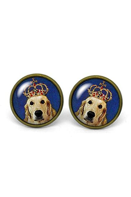 X531- Doggy Portrait, Golden Retriever, Glass Dome Post Earrings, Handmade