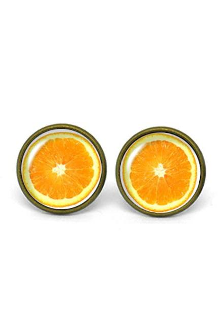 X553- Orange, Fruit, Glass Dome Post Earrings, Handmade