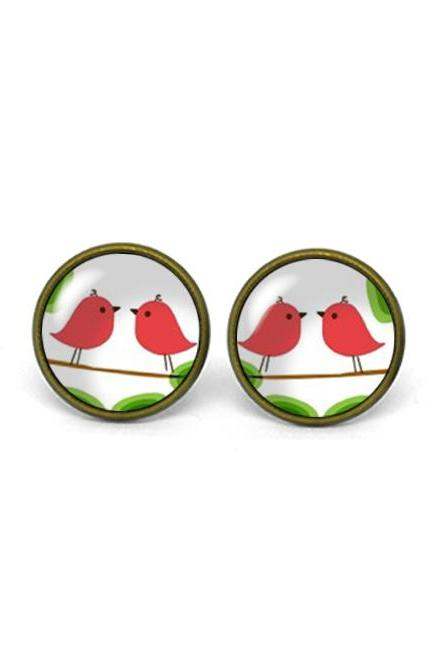 X629- Love Bird, Glass Dome Post Earrings, Handmade