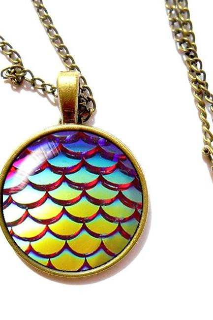 X829- Mermaid Scales, 25mm Glass Dome Necklace, Handmade